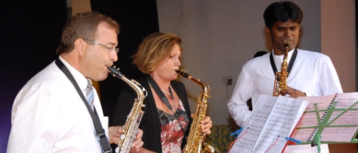 Dr. Rudolf Greiner and Mrs. Gerti Greiner playing Trio with Dr. Santhosh on the Inauguration day